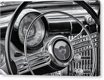 1953 Buick Super Dashboard And Steering Wheel Bw Canvas Print by Jerry Fornarotto