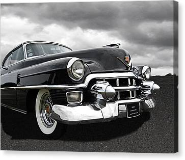1953 Cadillac Coupe De Ville Black And White Canvas Print
