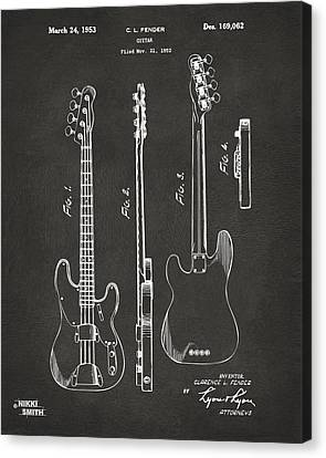 Guitar Canvas Print - 1953 Fender Bass Guitar Patent Artwork - Gray by Nikki Marie Smith