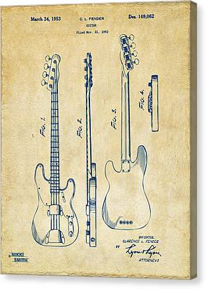 1953 Fender Bass Guitar Patent Artwork - Vintage Canvas Print by Nikki Marie Smith