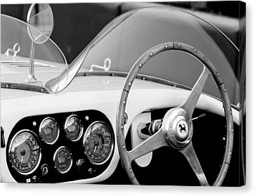 1953 Ferrari 340 Mm Lemans Spyder Steering Wheel Emblem Canvas Print by Jill Reger