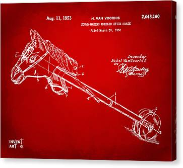 1953 Horse Toy Patent Artwork Red Canvas Print