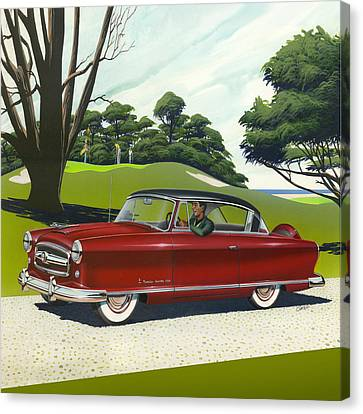 1953 Nash Rambler - Square Format Image Picture Canvas Print by Walt Curlee