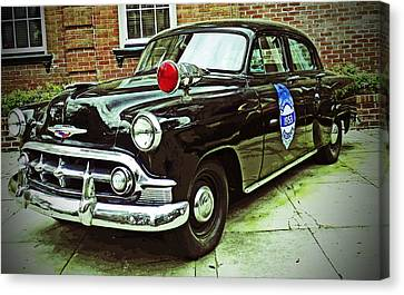 1953 Police Car Canvas Print by Patricia Greer