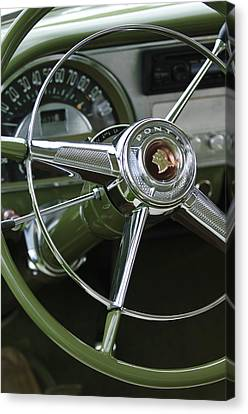 1953 Pontiac Steering Wheel Canvas Print by Jill Reger