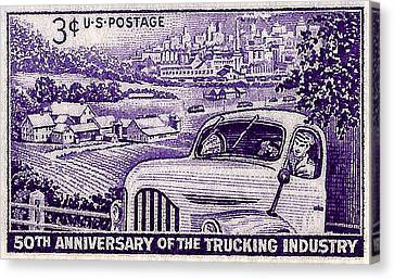 1953 Trucking Industry Postage Stamp Canvas Print by David Patterson