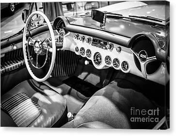 1954 Chevrolet Corvette Interior Black And White Picture Canvas Print by Paul Velgos