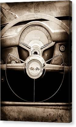 1954 Canvas Print - 1954 Chevrolet Corvette Steering Wheel Emblem by Jill Reger