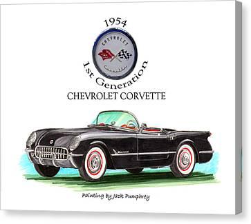1954 Corvette First Generation Canvas Print by Jack Pumphrey