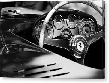 1954 Ferrari 500 Mondial Spyder Steering Wheel Emblem Canvas Print by Jill Reger