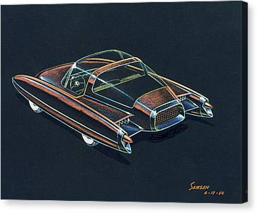 1954  Ford Cougar Experimental Car Concept Design Concept Sketch Canvas Print by John Samsen
