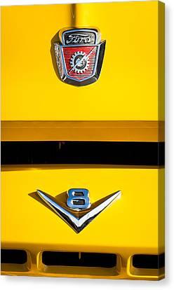 1954 Ford F-100 Custom Pickup Truck Emblems Canvas Print by Jill Reger