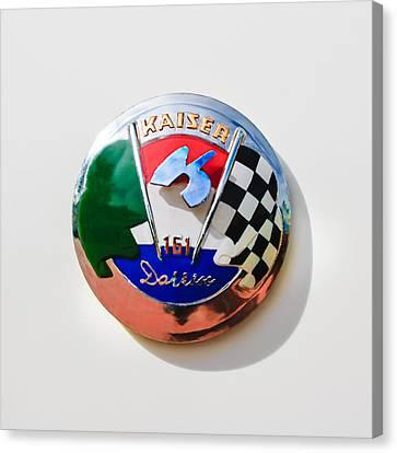 1954 Kaiser-darrin Roadster Emblem Canvas Print by Jill Reger
