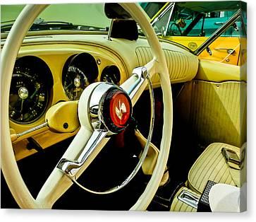 1954 Kaiser Darrin Steering Wheel And Dashboard Canvas Print by Jon Woodhams