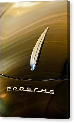 Bent Canvas Print - 1954 Porsche 356 1500 Bent-window Coupe Hood Ornament by Jill Reger