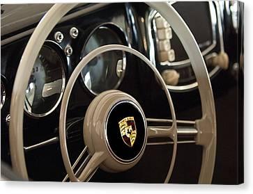 1954 Porsche 356 Bent-window Coupe Steering Wheel Emblem Canvas Print by Jill Reger