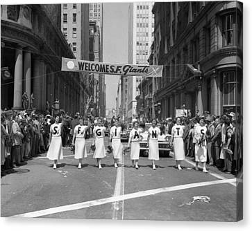 San Francisco Giant Canvas Print - 1954 World Series Champions Giants Parade Retro Cheerleaders by Retro Images Archive