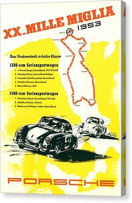 1954 Xx Mille Miglia Porsche Poster Canvas Print