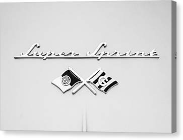 1955 Alfa Romeo 1900 Css Ghia Aigle Cabriolet Grille Emblem - Super Sprint Emblem -0604bw Canvas Print by Jill Reger