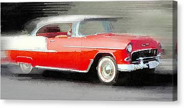 1955 Chevrolet Bel Air Coupe Watercolor Canvas Print by Naxart Studio