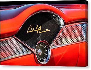 1955 Chevrolet Belair Dashboard Emblem Clock Canvas Print by Jill Reger
