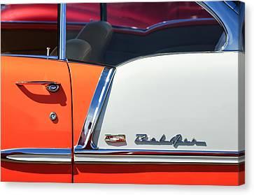 1955 Chevrolet Belair Side Emblem Canvas Print by Jill Reger