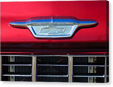 Chevrolet Pickup Truck Canvas Print - 1955 Chevrolet Pickup Truck Grille Emblem by Jill Reger