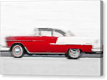 1955 Chevy Bel Air Watercolor Canvas Print by Naxart Studio