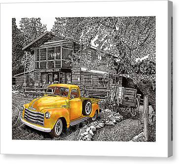 1955 Chevy Pick Up Truck In Lake Robers N M  Canvas Print by Jack Pumphrey