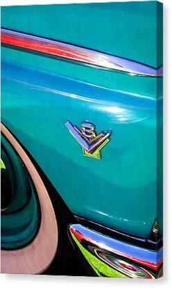 1955 Ford Customline V8 Side Emblem Canvas Print by Jill Reger