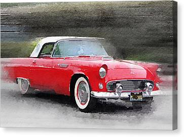 1955 Ford Thunderbird Watercolor Canvas Print by Naxart Studio