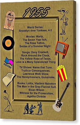 1955 Movies Canvas Print - 1955 Great Events by Movie Poster Prints