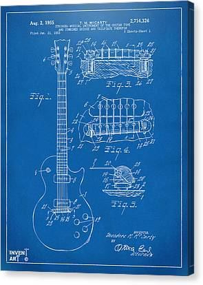 Gibson Guitar Canvas Print - 1955 Mccarty Gibson Les Paul Guitar Patent Artwork Blueprint by Nikki Marie Smith