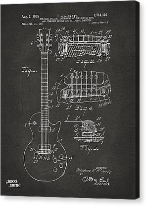 Player Canvas Print - 1955 Mccarty Gibson Les Paul Guitar Patent Artwork - Gray by Nikki Marie Smith