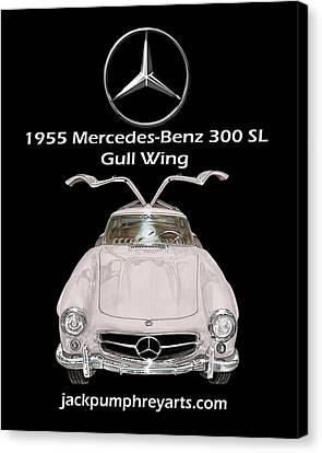 1955 Mercedes Benz 300 S L Gull Wing Canvas Print by Jack Pumphrey
