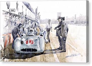 1955 Canvas Print - 1955 Mercedes Benz W 196 Str Stirling Moss Italian Gp Monza by Yuriy  Shevchuk