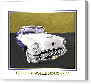 1955 Olds Holiday 88 Canvas Print by Jack Pumphrey