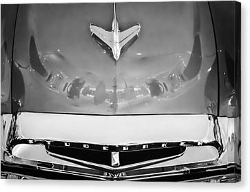 1955 Studebaker Champion Conestoga Custom Wagon Hood Ornament - Grille Emblem -0325bw Canvas Print