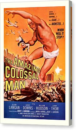 1955 The Amazing Colossal Man Vintage Movie Art Canvas Print by Presented By American Classic Art