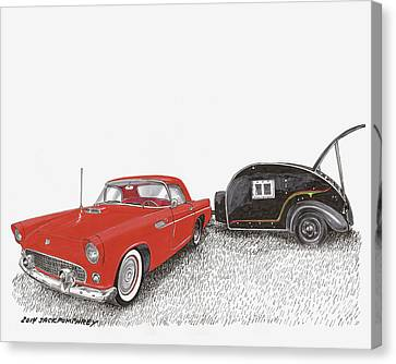 1955 Thunderbird And Kit Teardrop Canvas Print by Jack Pumphrey