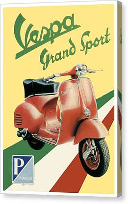 1955 - Vespa Grand Sport Motor Scooter Advertisement - Color Canvas Print