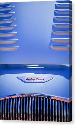1956 Austin-healey 100m Bn2 'factory' Le Mans Competition Roadster Hood Emblem Canvas Print by Jill Reger