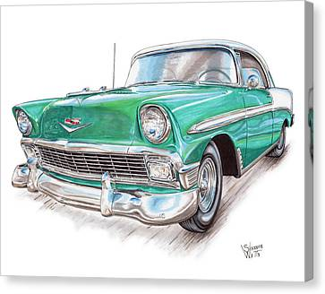 Hot Rod Canvas Print - 1956 Chevrolet Bel Air by Shannon Watts
