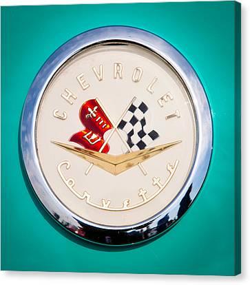 1956 Chevy Corvette Emblem Canvas Print by David Patterson