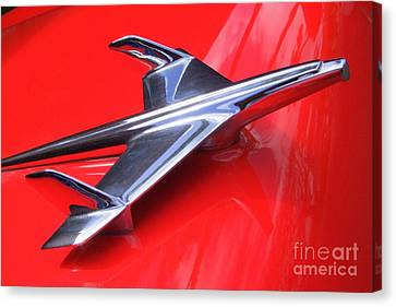 1956 Chevy Hood Ornament Canvas Print by Mary Deal