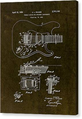 1956 Fender Tremolo Patent Drawing II Canvas Print by Gary Bodnar