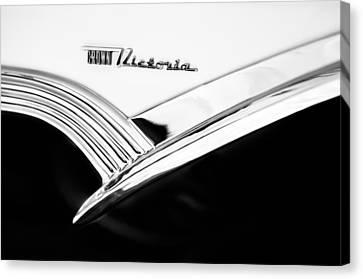 1956 Ford Crown Victoria Glass Top Emblem -3168bw Canvas Print by Jill Reger