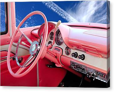 1956 Ford Crown Victoria Interior Canvas Print by Jim Hughes