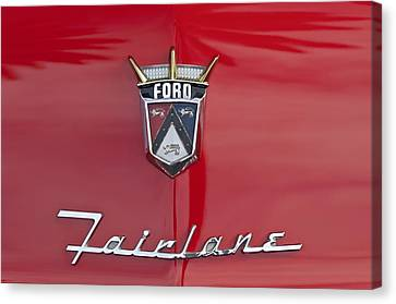 1956 Ford Fairlane Hood Emblem Canvas Print by Jill Reger