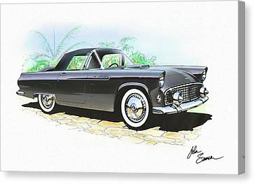 1956 Ford Thunderbird  Black  Classic Vintage Sports Car Art Sketch Rendering         Canvas Print by John Samsen